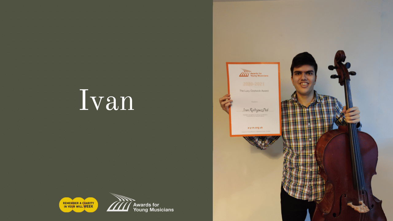 Young musician Ivan with his cello and award certificate